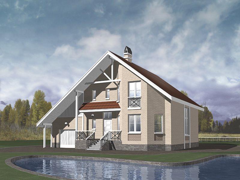 блочный дом с мансардой
