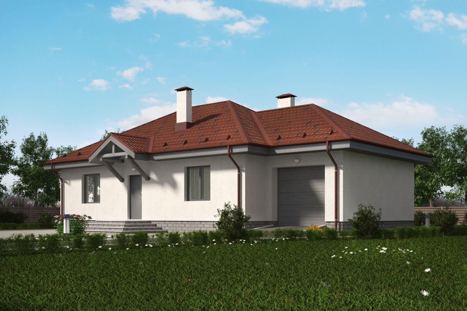 Одноэтажный дом с гаражом проект