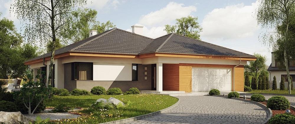 проект одноэтажного дома с гаражом и террасой